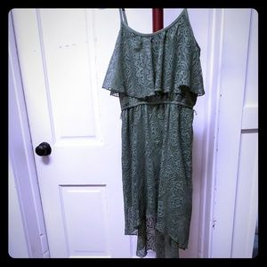 Olive Green High-Low Small Lace Dress
